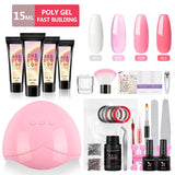 Shelloloh 4/10Pcs Poly Gel Kit 15ml Quick Builder Gel 36W UV/LED Lamp 10ml Top Coat Base Coat 30ml Cleanser Plus Nail Art Manicure Decoration