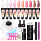 Shelloloh Quick Builder Gel 15ml Poly Gel 24W UV/LED Lamp Top Coat Base Coat Nail Art Kit 30ml Cleanser Plus Manicure