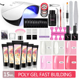 Shelloloh 4/6/10 Colors Poly Gel Kit 15ml Quick Building Gel 36W UV/LED Lamp 10ml Top Coat Base Coat Nail Art Manicure Kit