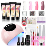 Shelloloh Poly Nail Gel 4 Color Kit 15ml Manicure Tools Kit Nail Lamp Nail Liquid Nail Art Decorations Top Base Coat