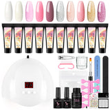 Shelloloh Nail Ploy Gel Extension Gel 6/10 Color Kit Manicure Tools Kit Nail Lamp 36W Top Base Coat Nail Slip Solution Nail Sticker