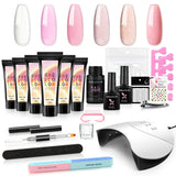 Shelloloh Extension Gel Poly Gel Pure Glitter Color 6/10pc 36W Nail Lamp Manicure Tools Kit Top Base Coat Long Lasting Easy To Use