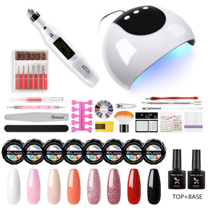 Shelloloh 8 Colors 5ml Pure Glitter Color UV Gel Nail Lamp Nail Drill Machine Nail Art Tools Manicure Decoration