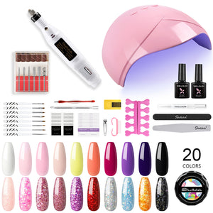 Shelloloh UV Nail Gel 20 Colors Kit Nail Lamp Manicure Nail Art Tools Nail Drill Machine Starter Kit Home Salon