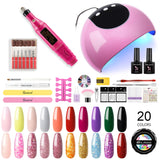 Shelloloh UV Gel 20 Colors 5ml Pure Glitter Color Manicure Tools Kit Nail Lamp Top Base Coat Nail Drill Machine