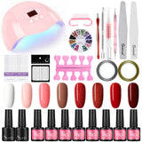 Shelloloh 36W Nail Lamp Nail Art Gel Soak Off Gel 8 Color Gel Pure Glitter Manicure Tools Kit Nail Art Decoration Kit Easy To Use Long Lasting
