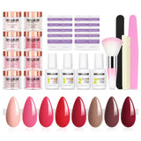 Shelloloh Dipping Powder Kit 6/8 Colors Nail Brush Base&Top Activator Nail Art Manicure Tools