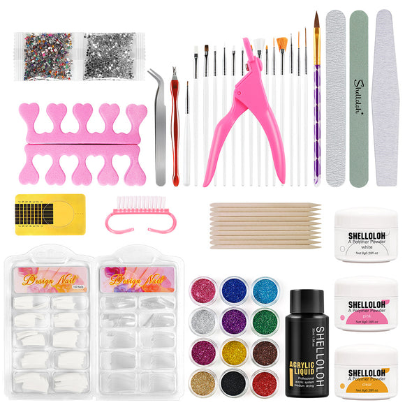 Shelloloh 8g Acrylic Powder Manicure Tools Kit Acrylic Liquid Nail Art Decoration Kit Easy To Use Fast Setting