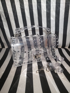 CLEAR STUD SPIKE PURSE