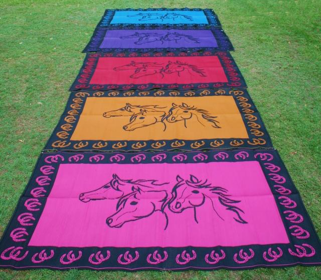 Horse Heads Design - Mats By Design - eco friendly affordable lightweight recycled plastic camping camper indoor outdoor mat rug