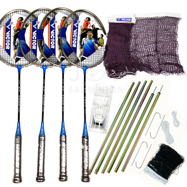 Victor portable outdoor deluxe leisure badminton combo set