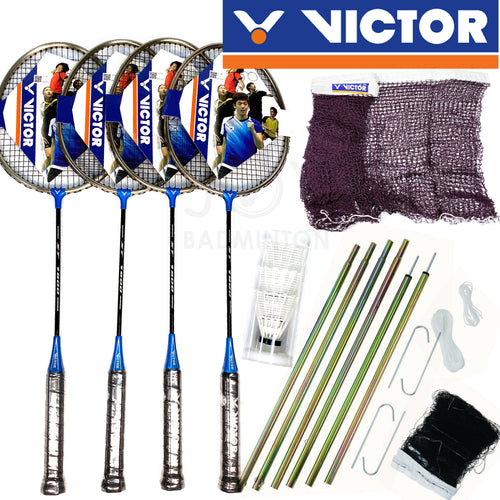 VICTOR 4-player Portable Outdoor Deluxe Leisure Badminton Combo Set
