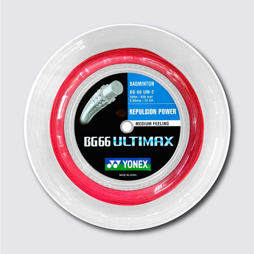 Yonex BG 66 Ultimax 200m Badminton String (Red) - JoyBadminton