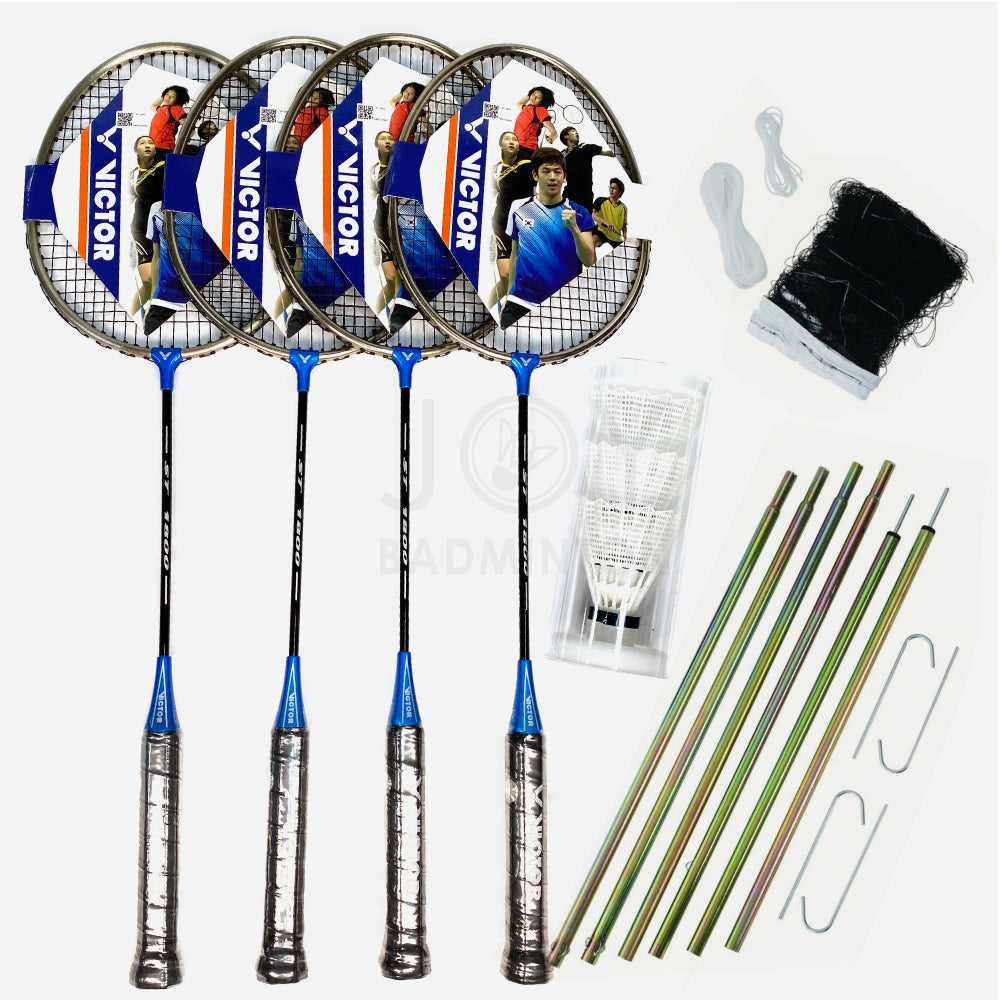 VICTOR 4-player Portable Outdoor Leisure Badminton Combo Set