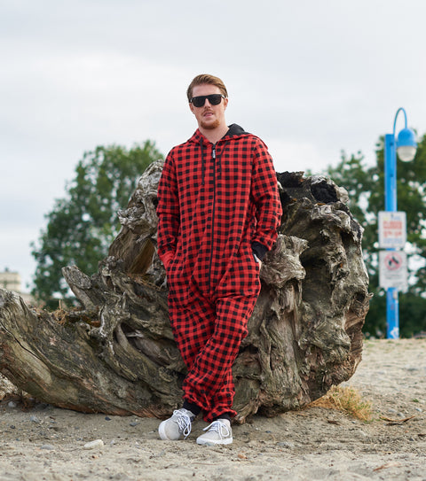Red Plaid Funzie Onesie - Thuggies