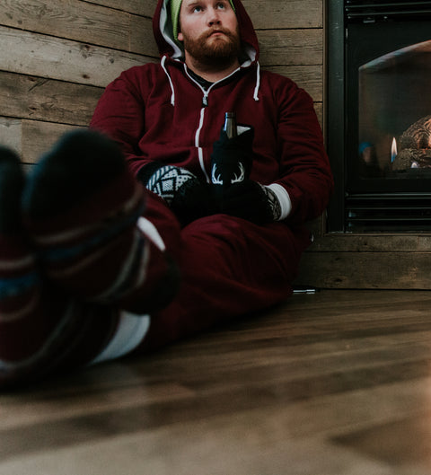 Fireplace in a onesie | Mens ron burgundy onesie