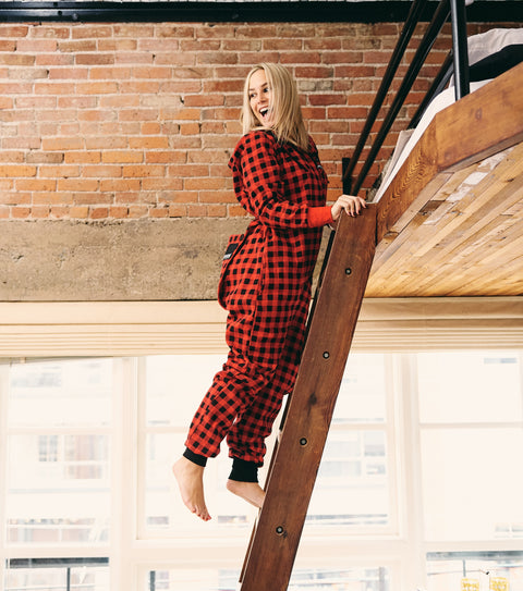 Women's red plaid onepiece long underwear pajamas thuggies