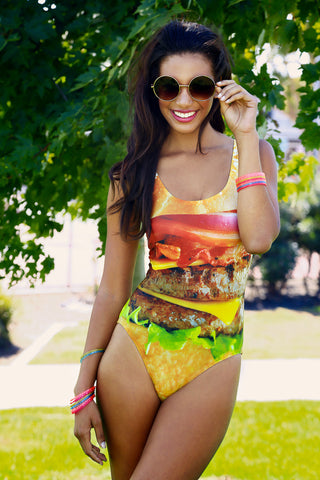 Plus Size Hamburger One Piece Swimsuit