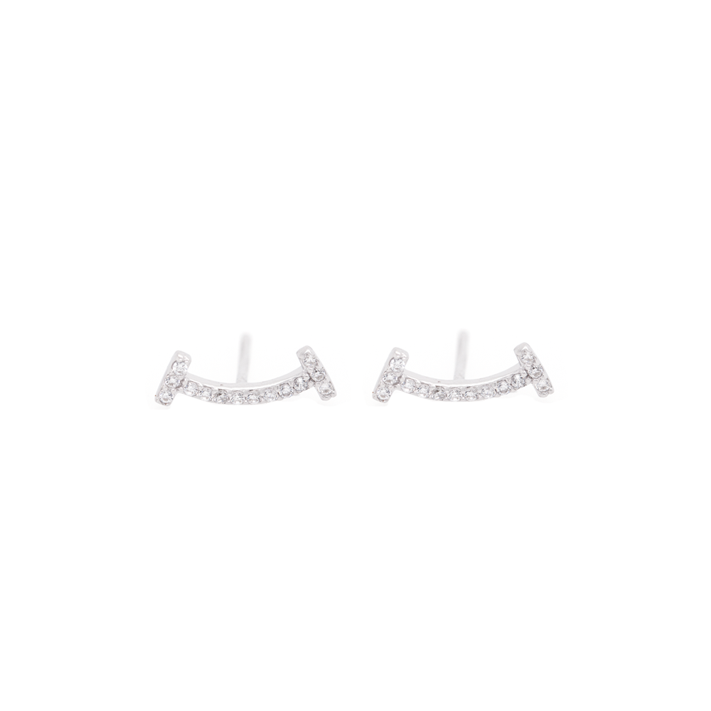 Sterling Silver CZ Smile with Dimples Studs
