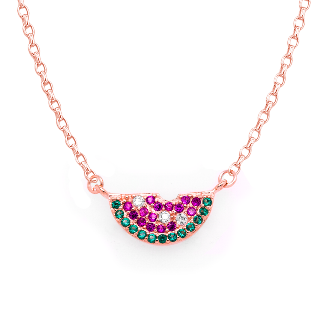 CZ Watermelon Slice Necklace