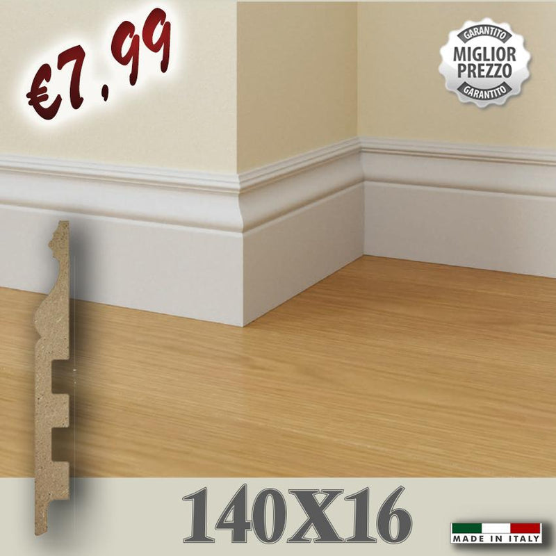 100ML Battiscopa Passacavo Fibra di LEGNO DUCALE Impero 140X16 - Eternal Parquet