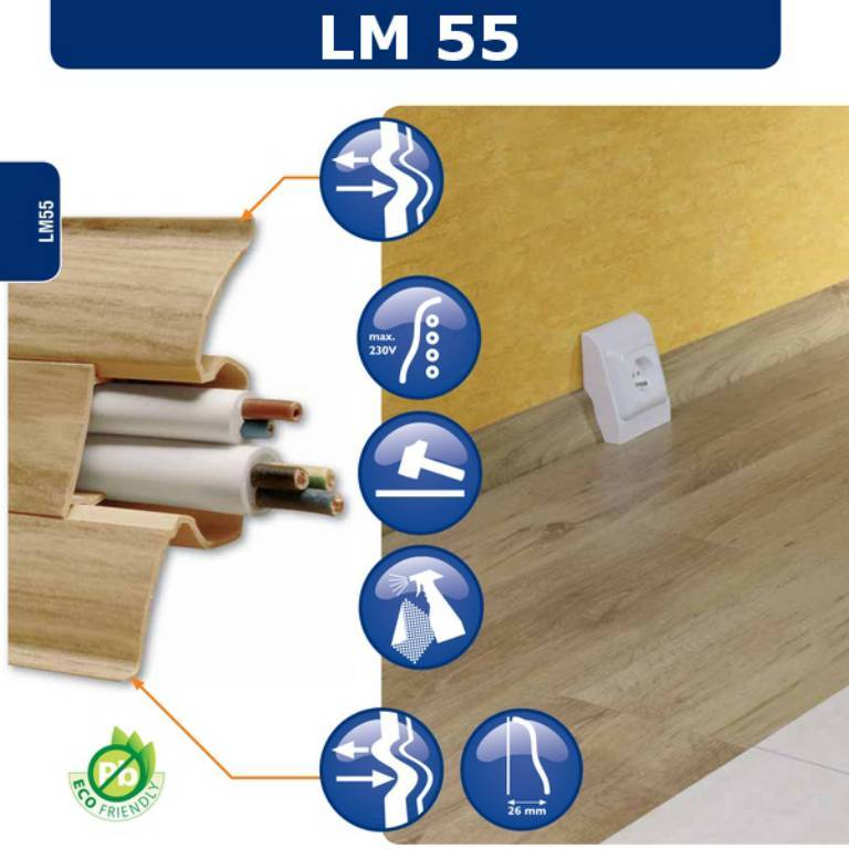 BATTISCOPA in PVC inclinato passacavo 50 METRI LINEARI 55x26 (asta 2500mm) - Eternal Parquet