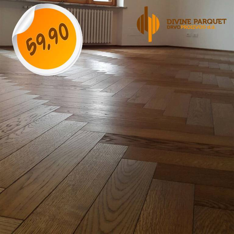 80mq di parquet prefinito Rovere Castle Brown 2 strati spina Italiana 13,5x95x600mm - Eternal Parquet