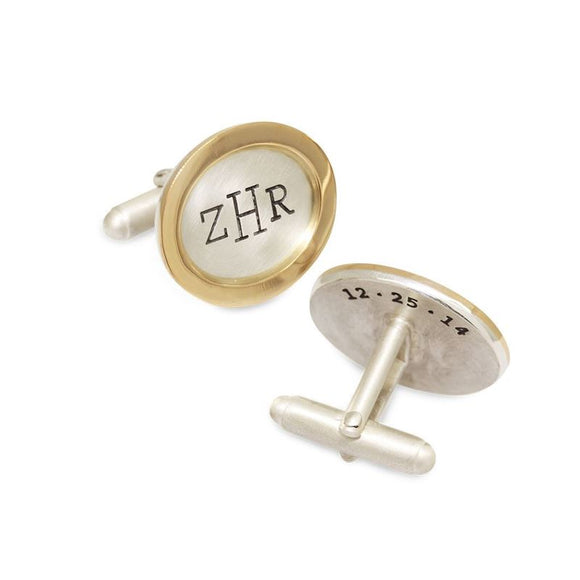 Oval Monogram and Date Cufflinks