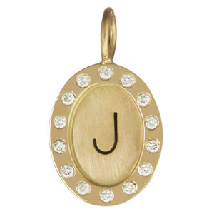 Single Initial Oval Charm