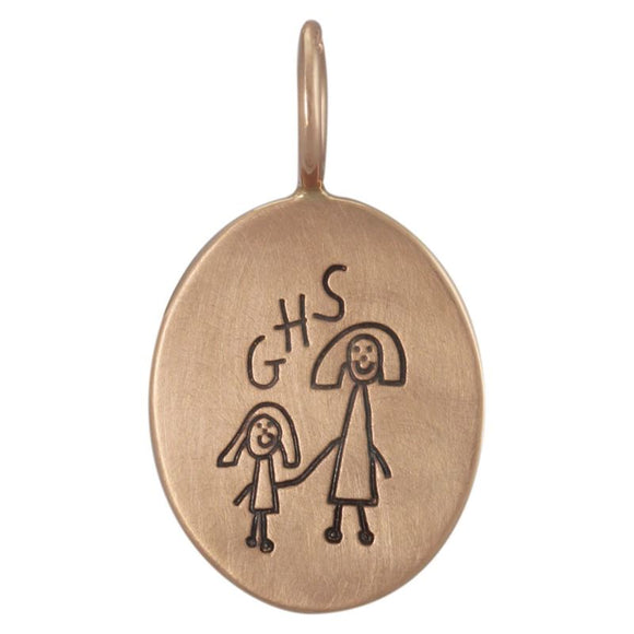 Child's Drawing Oval Charm