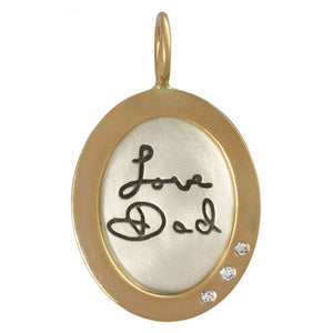 Handwriting Oval Charm
