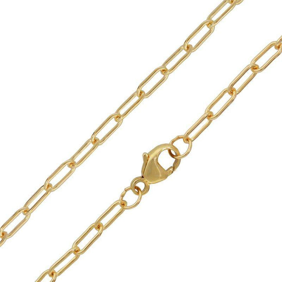 3mm Long Link Gold Chain