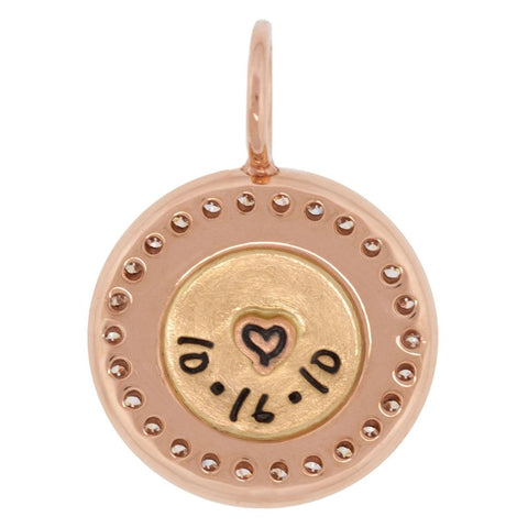 Double Initial And Date Channel Set Round Charm