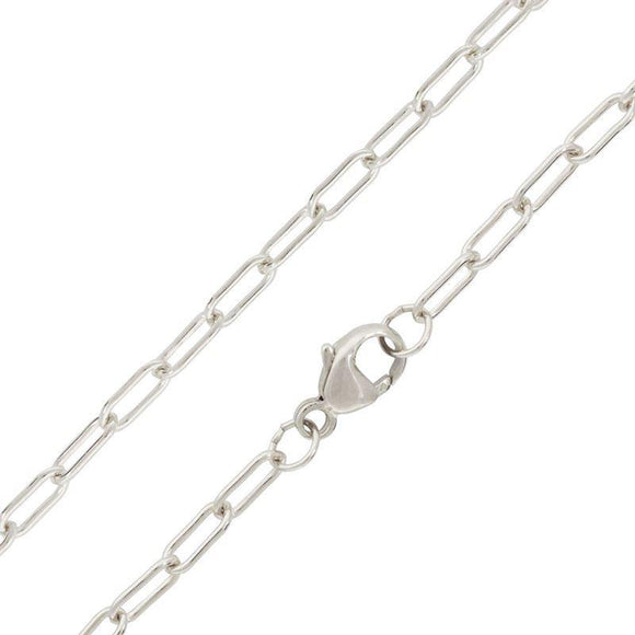 3mm Long Link Silver Chain