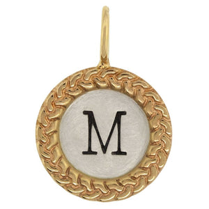 Single Initial Textured Framed Round Charm