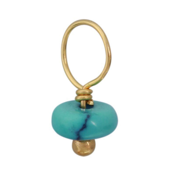 Vein Turquoise Unfaceted Rondelle Gemstone