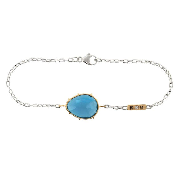 London Blue Topaz Double Initial Harriet Bracelet