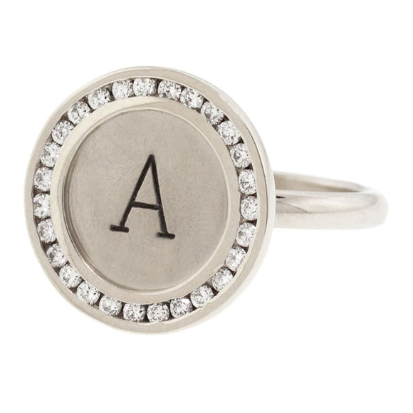 Channel Set Initial Charming Ring