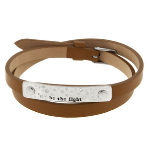 Be The Light Leather Riveted Bracelet