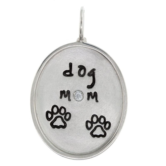 Dog Mom Oval Charm