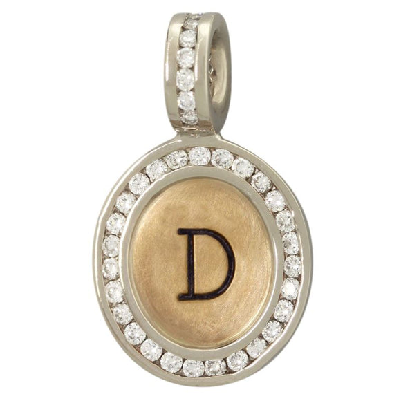 Channel Set Single Initial Oval Charm