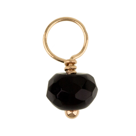 Onyx Faceted Rondelle Gemstone
