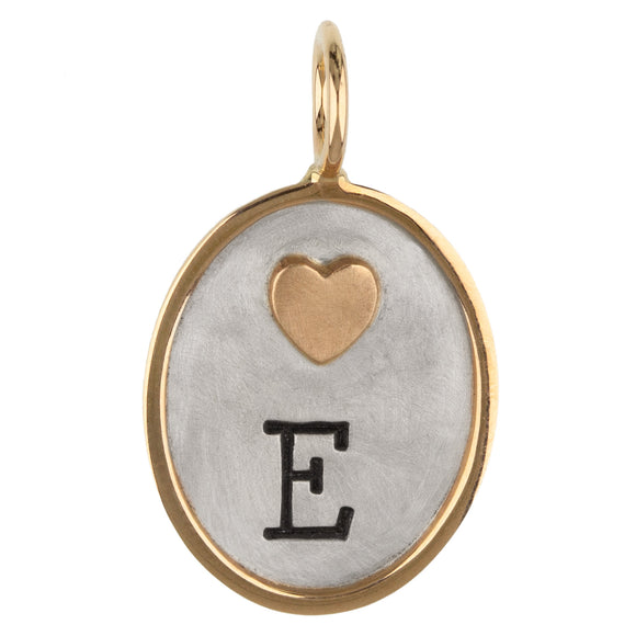 Single Initial and Heart Oval Charm