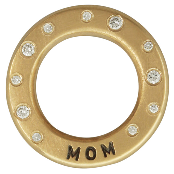 Mom & Diamond Thick Open Circle