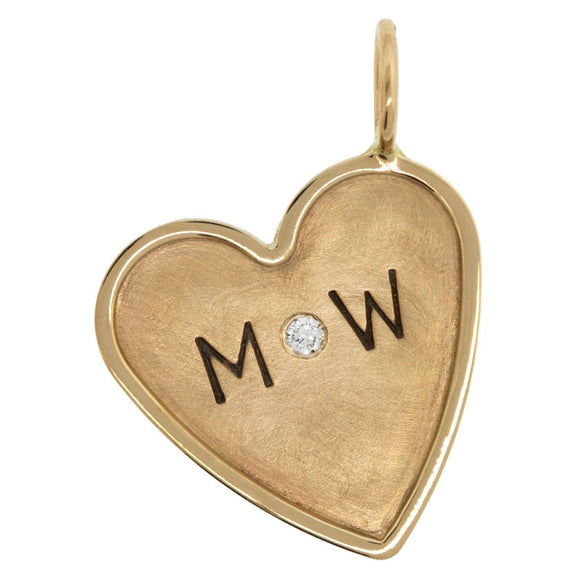 Double Initial and Date Heart Charm