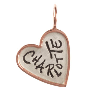 Graffiti Name Heart Charm