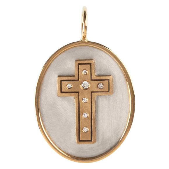 Diamond Cross Oval Charm