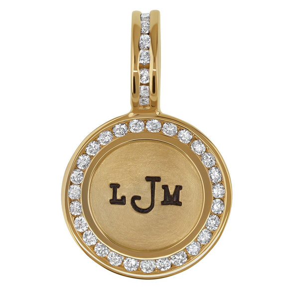 Monogram Channel Set Round Charm