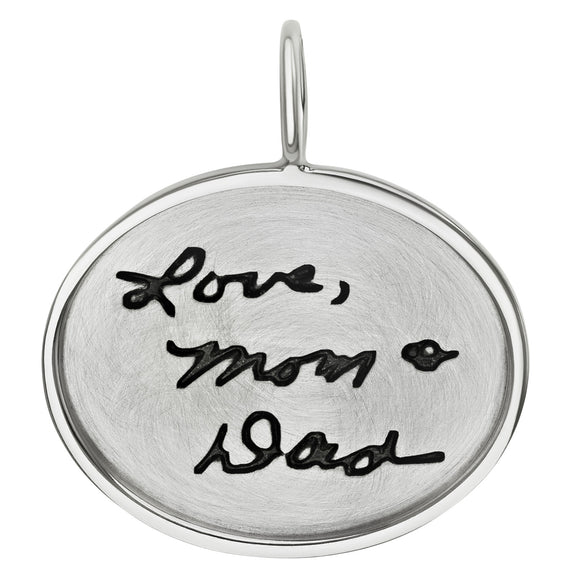 Handwritten Message Oval Charm