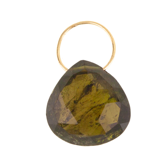 Green Tourmaline Faceted Drop Gemstone